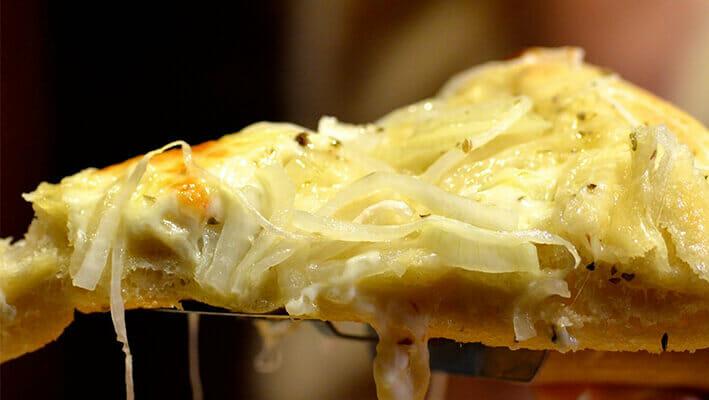 Argentinian Fugazza Pizza with sweet onions