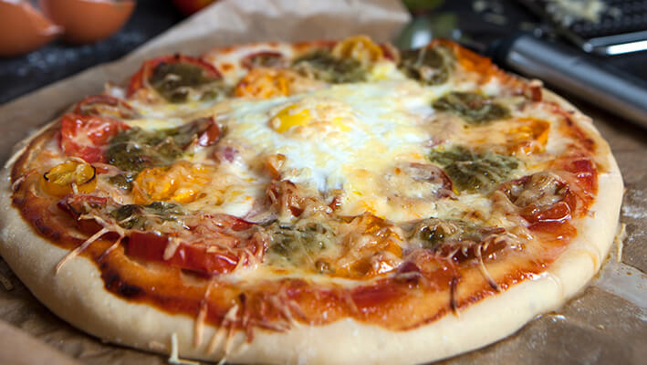 Australian Pizza with fried egg