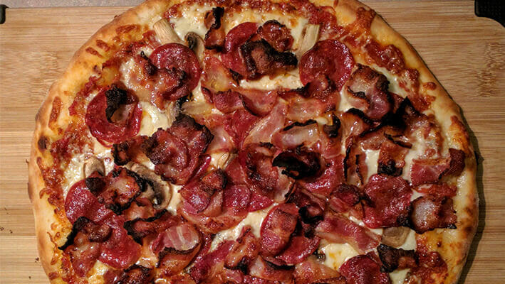 Canadian Quebecois Pizza with bacon and mushrooms