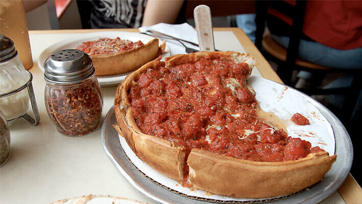 Chicago Deep-Dish Pizza with chunky tomatoes