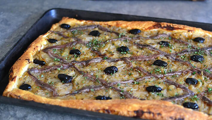 French Pissaladiere Pizza with olives and anchovies