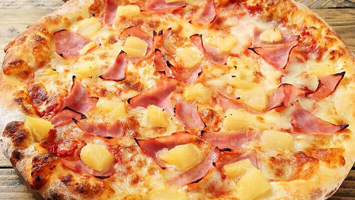 Hawaiian Pizza with pineapple and ham