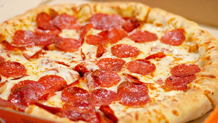 New York Style Pizza with pepperoni sausage