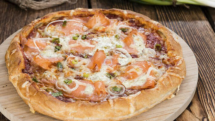 Russian Pizza from Moscow with salmon