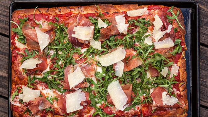 Sicilian Pizza, pizza in a pan