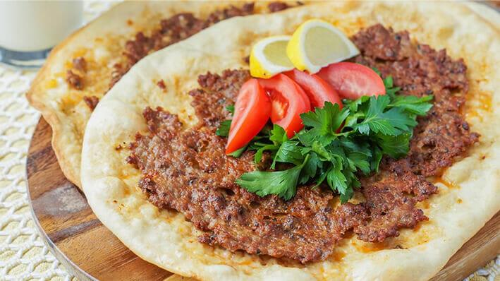 Turkish Lahmacun Pizza on flatbread