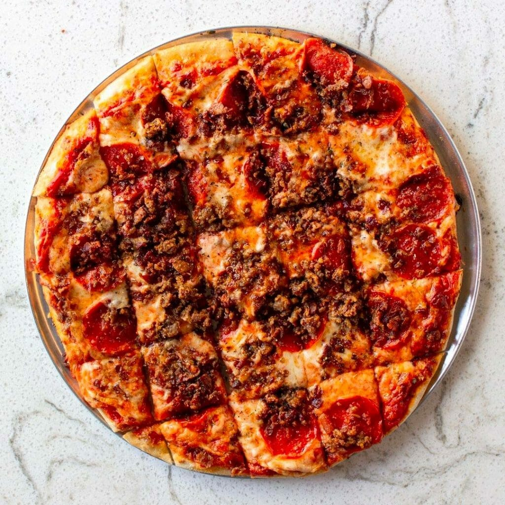 Meat Lover's Pizza with ground beef pepperoni and cheese