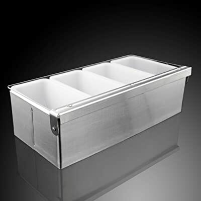 New Star Foodservice Stainless Steel Condiment Dispenser (4 Compartments)