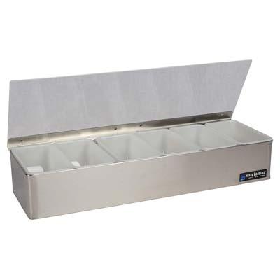 San Jamar B4186L Stainless Steel Non-Chilled Garnish Tray with Plex Lid